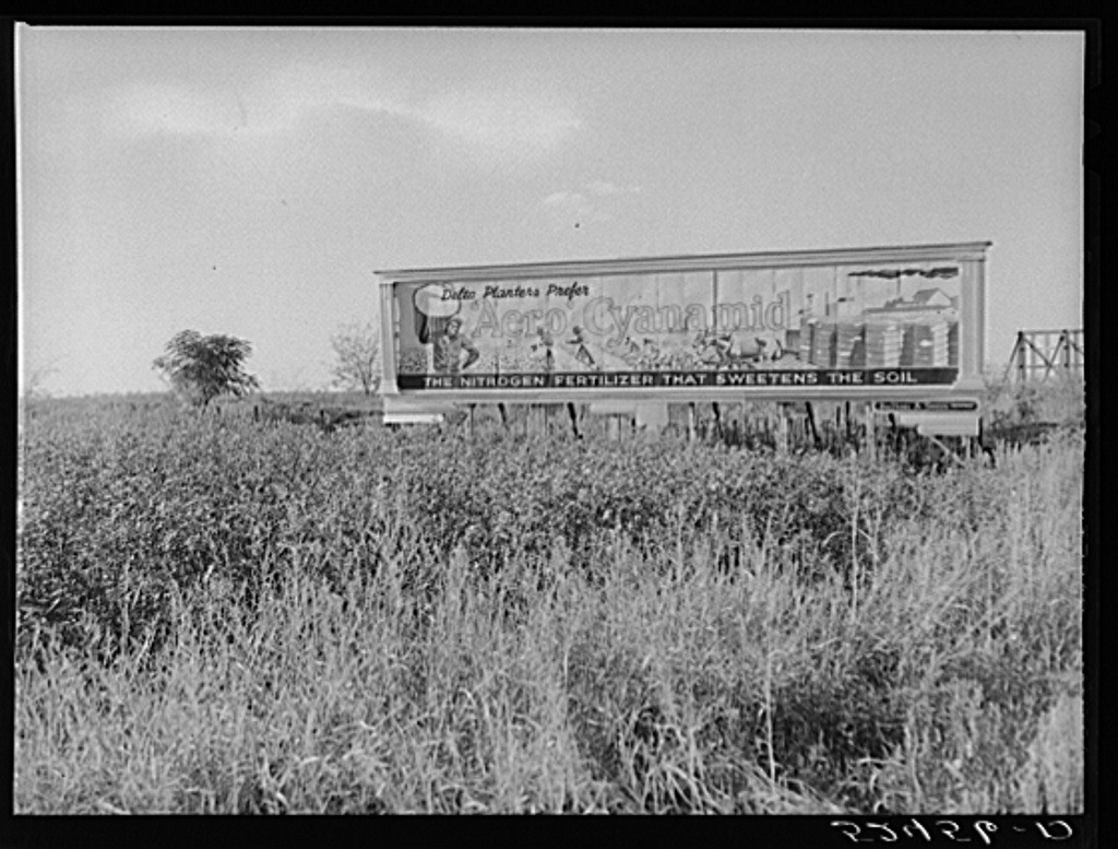 Billboard advertising fertilizer in cotton fields. Oct. 1939.