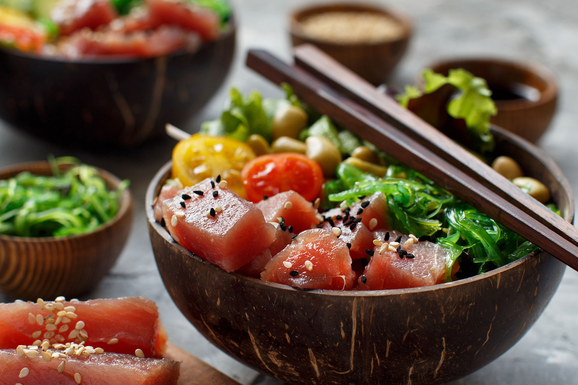 Hawaiian tuna poke salad in the bowl close up